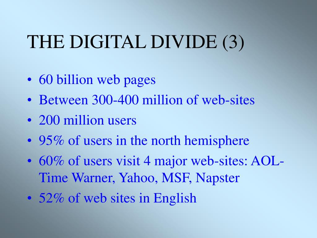 THE DIGITAL DIVIDE (3)