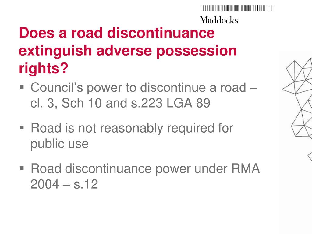 Does a road discontinuance extinguish adverse possession rights?