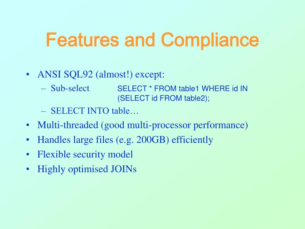 Features and Compliance