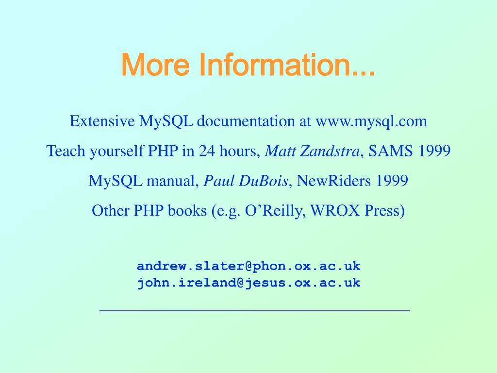 More Information...