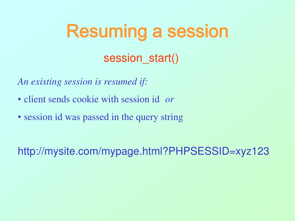 Resuming a session
