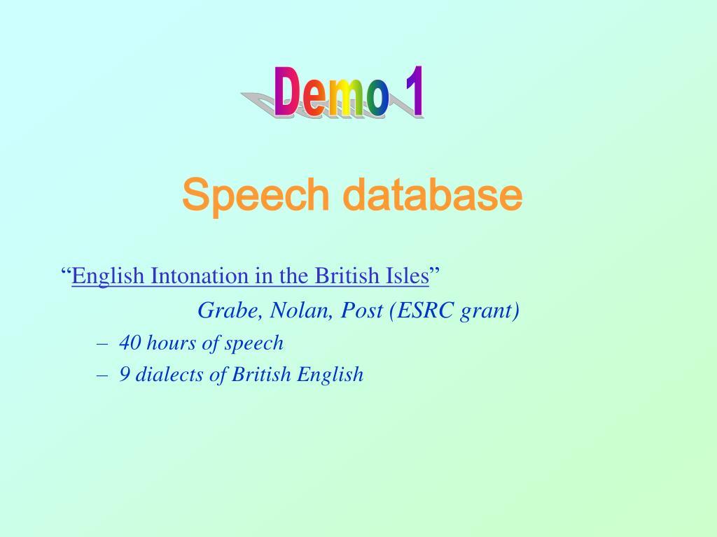 Speech database