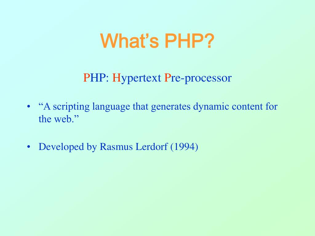 What's PHP?