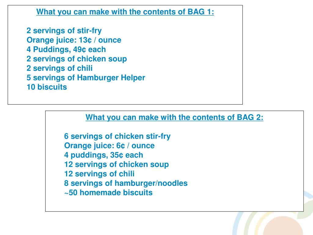 What you can make with the contents of BAG 2: