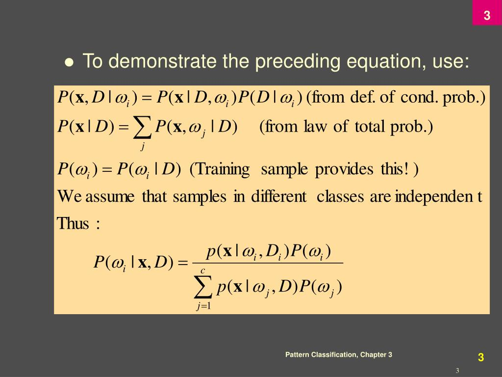 To demonstrate the preceding equation, use: