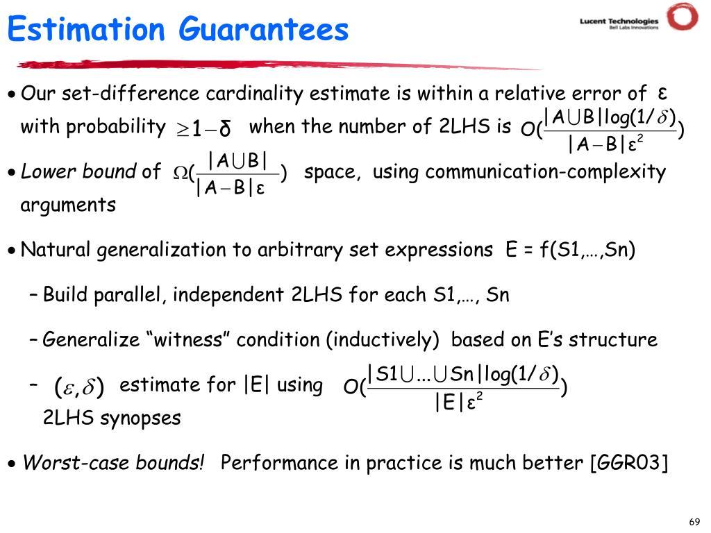 Estimation Guarantees