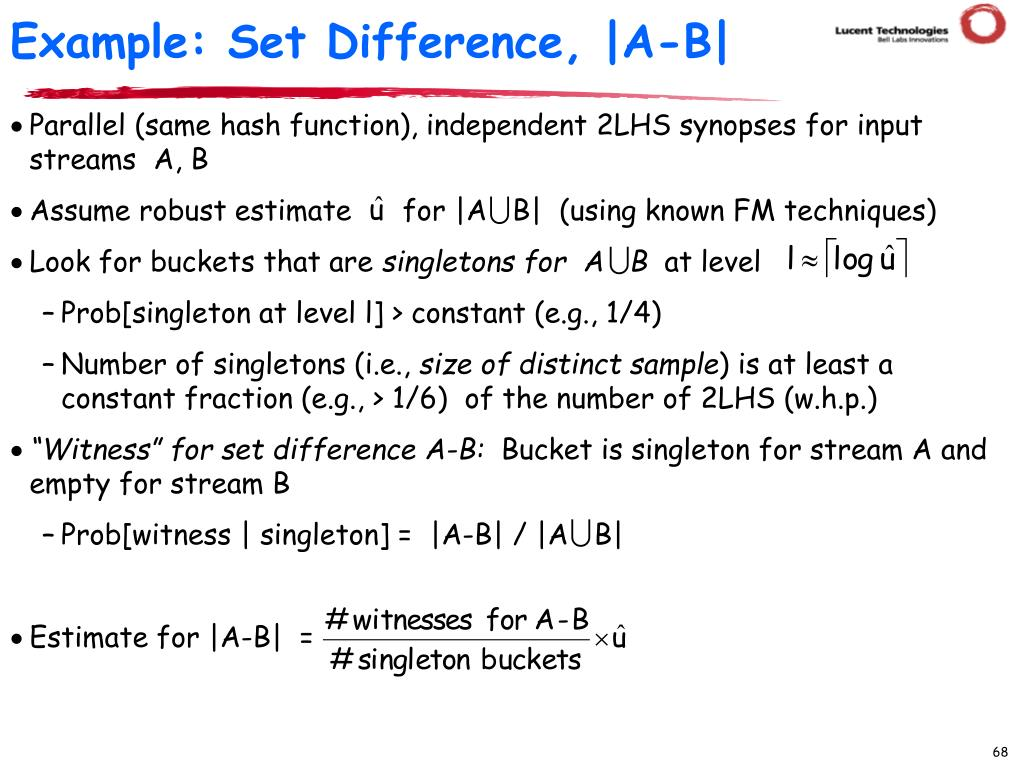 Example: Set Difference, |A-B|