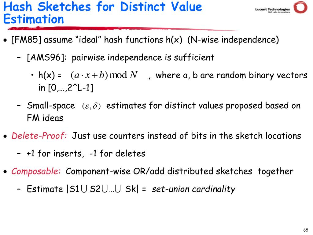 Hash Sketches for Distinct Value Estimation