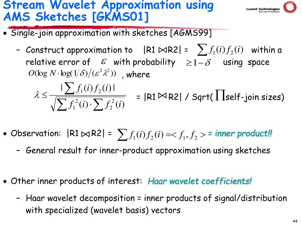Stream Wavelet Approximation using AMS Sketches [GKMS01]