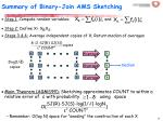 summary of binary join ams sketching