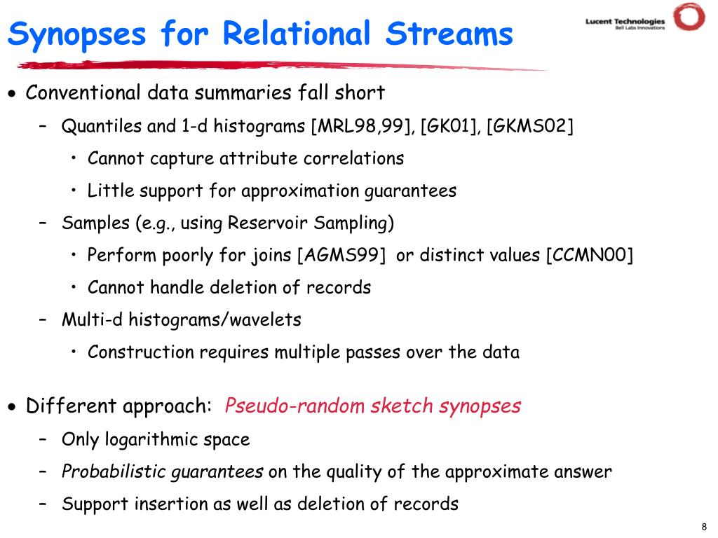 Synopses for Relational Streams