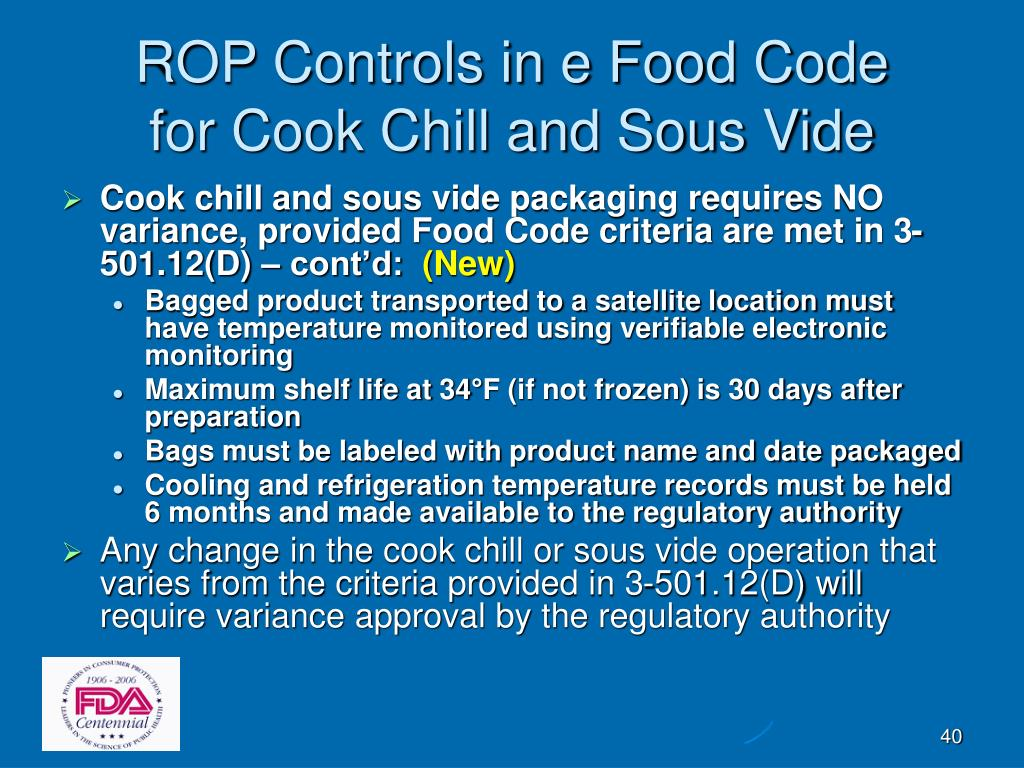 ROP Controls in e Food Code