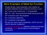 more examples of metal ion function