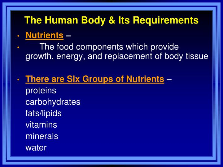 The human body its requirements
