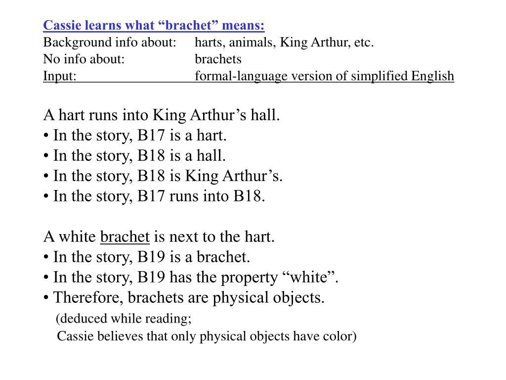 "Cassie learns what ""brachet"" means:"