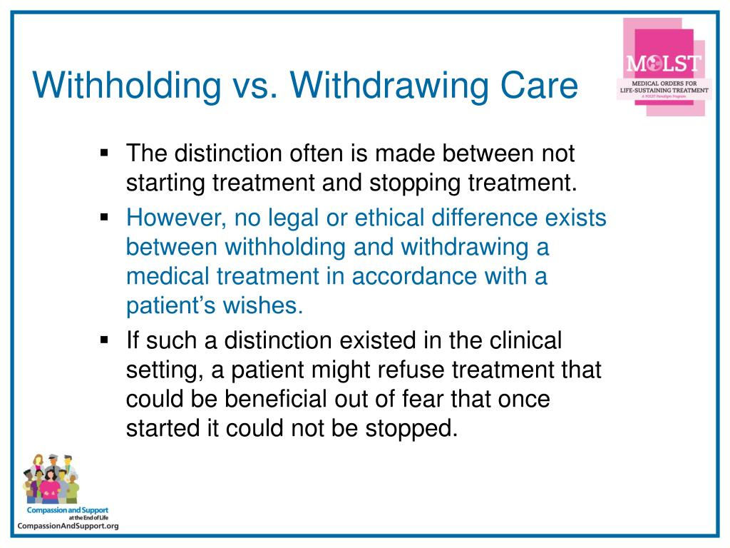 Withholding vs. Withdrawing Care