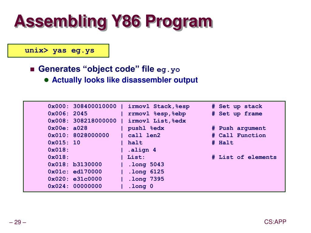 Assembling Y86 Program