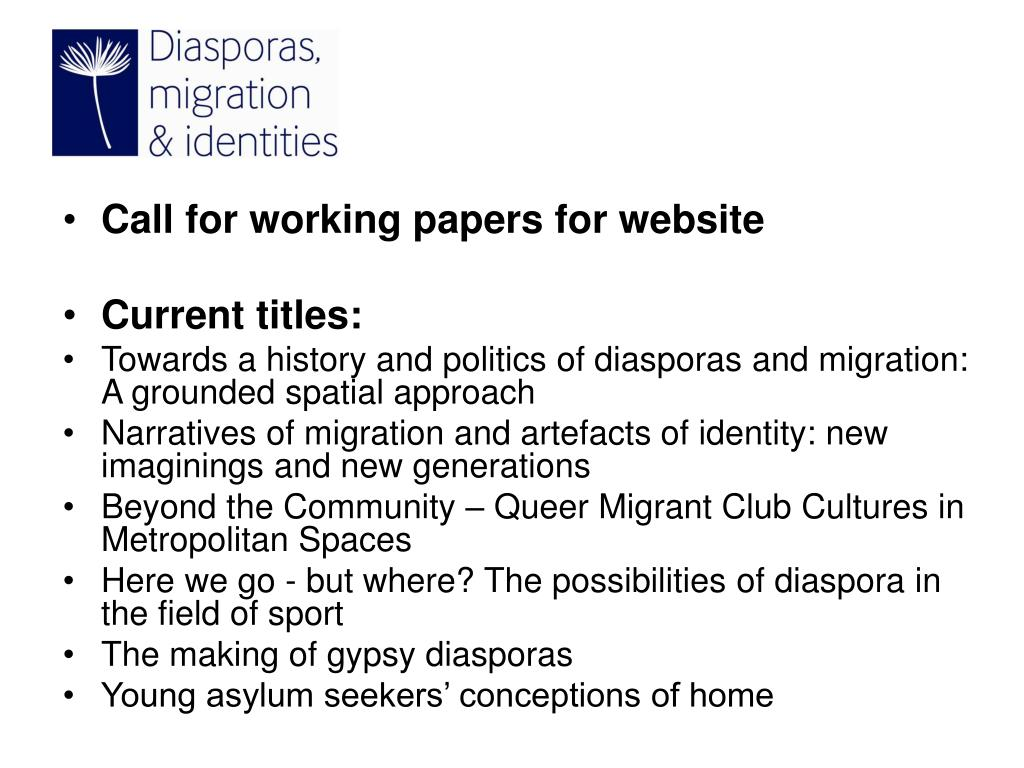 Call for working papers for website