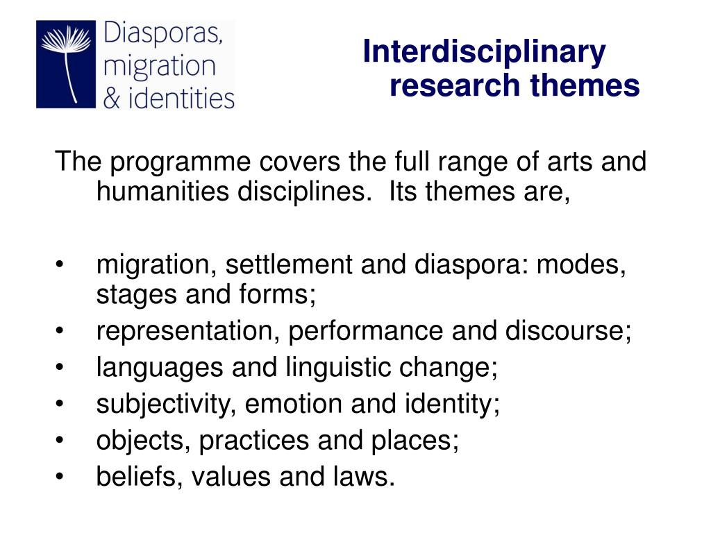 The programme covers the full range of arts and humanities disciplines.  Its themes are,