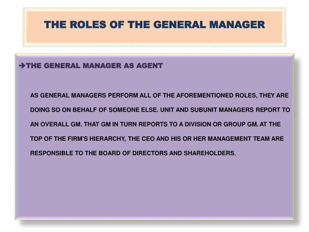 THE ROLES OF THE GENERAL MANAGER
