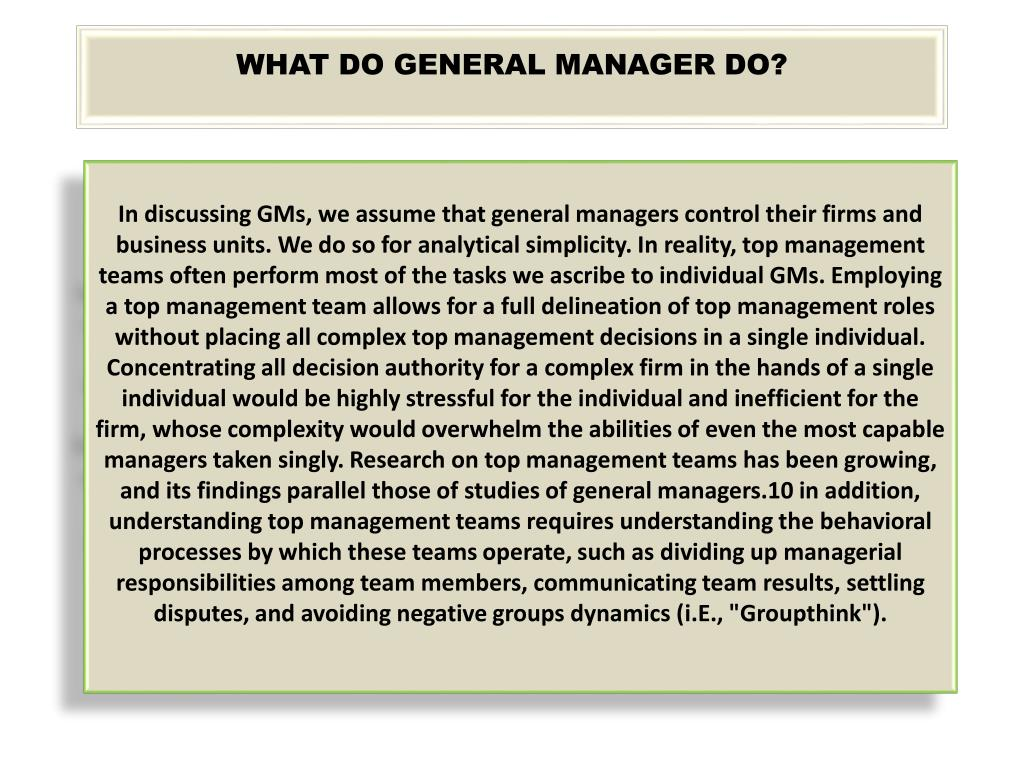 WHAT DO GENERAL MANAGER DO?