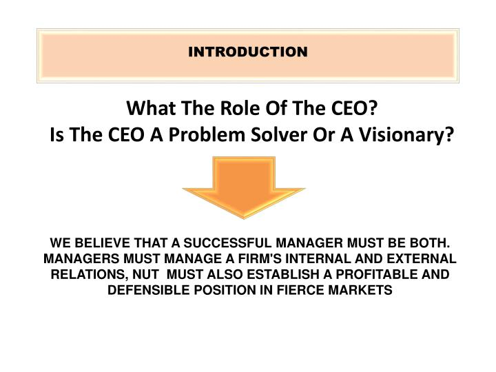 What the role of the ceo is the ceo a problem solver or a visionary l.jpg