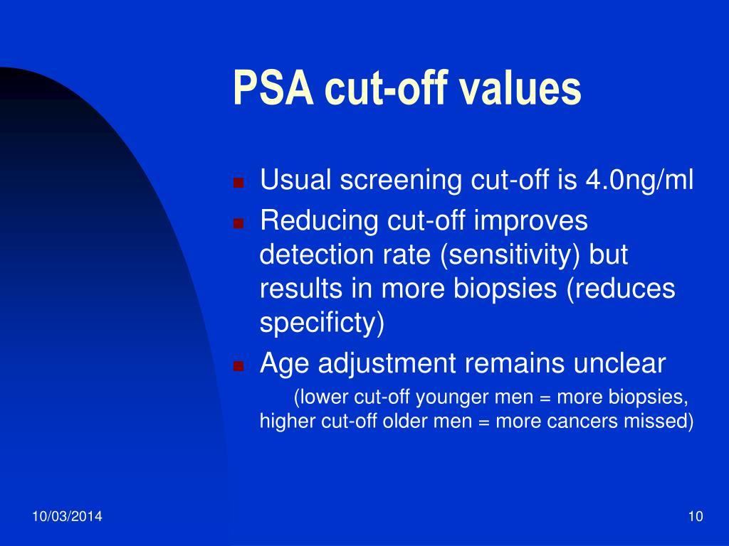 PSA cut-off values