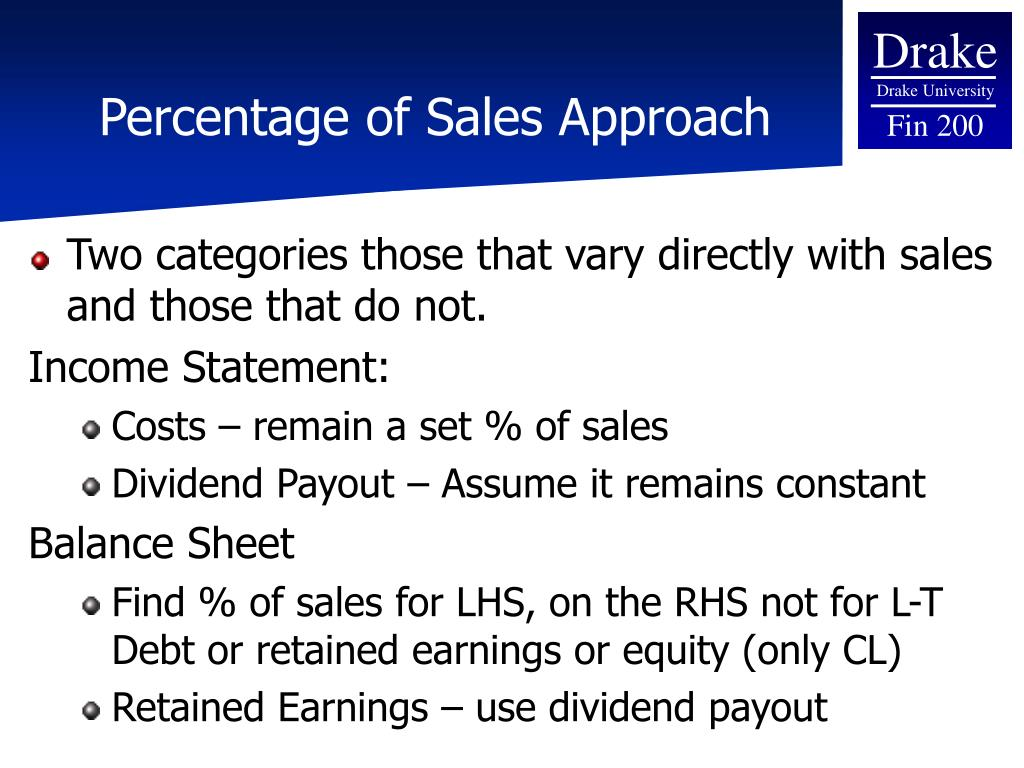 Percentage of Sales Approach