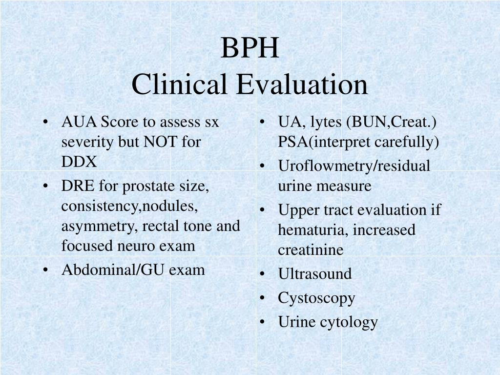 AUA Score to assess sx severity but NOT for DDX