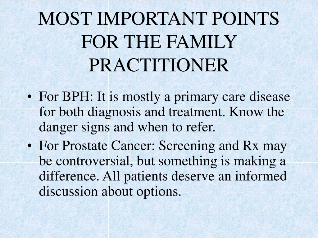 MOST IMPORTANT POINTS FOR THE FAMILY PRACTITIONER