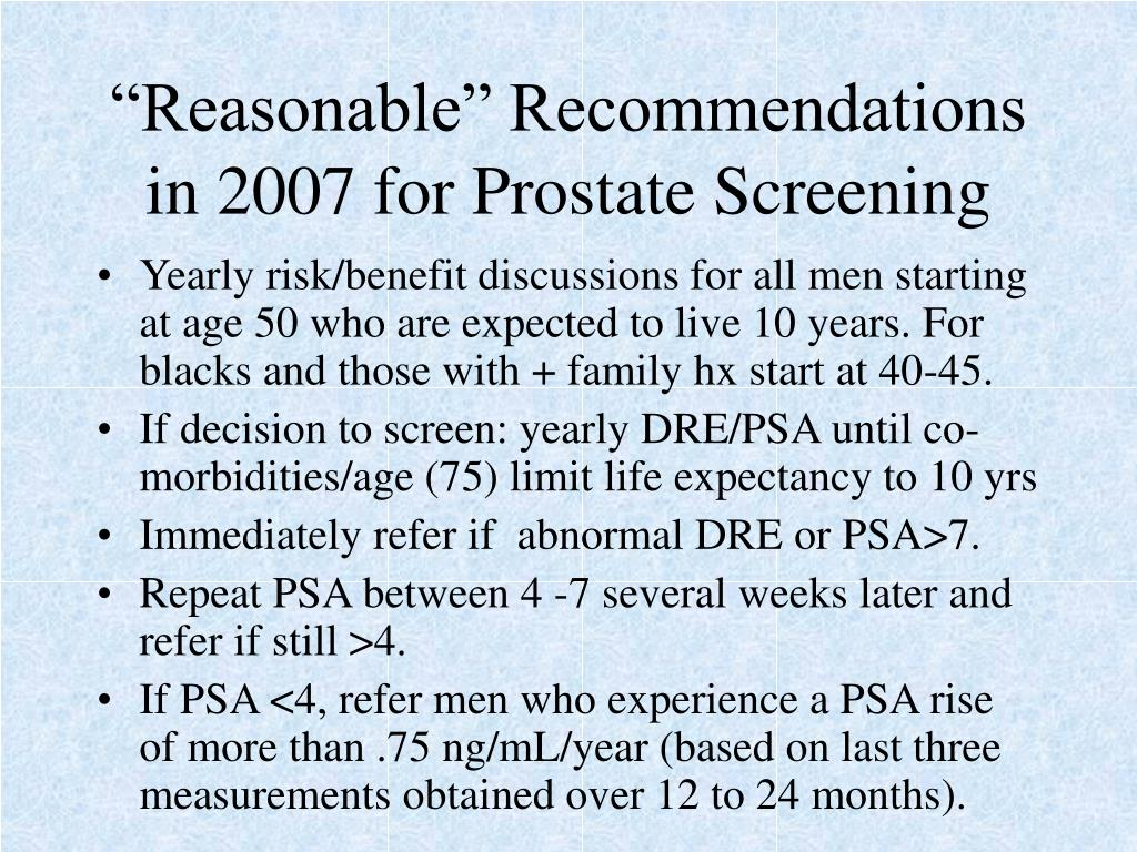 """""""Reasonable"""" Recommendations in 2007 for Prostate Screening"""