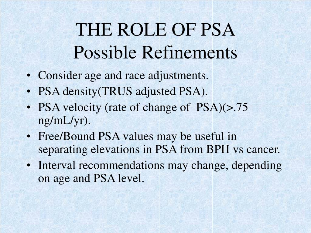 THE ROLE OF PSA