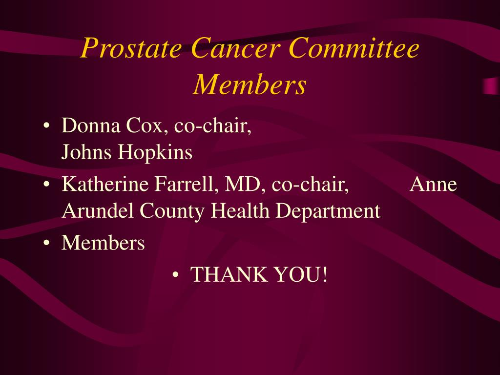 Prostate Cancer Committee Members