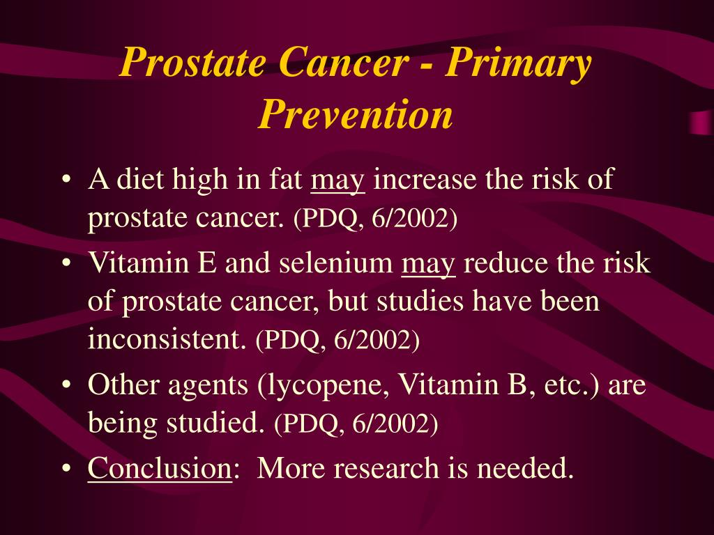 Prostate Cancer - Primary Prevention