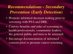 recommendations secondary prevention early detection