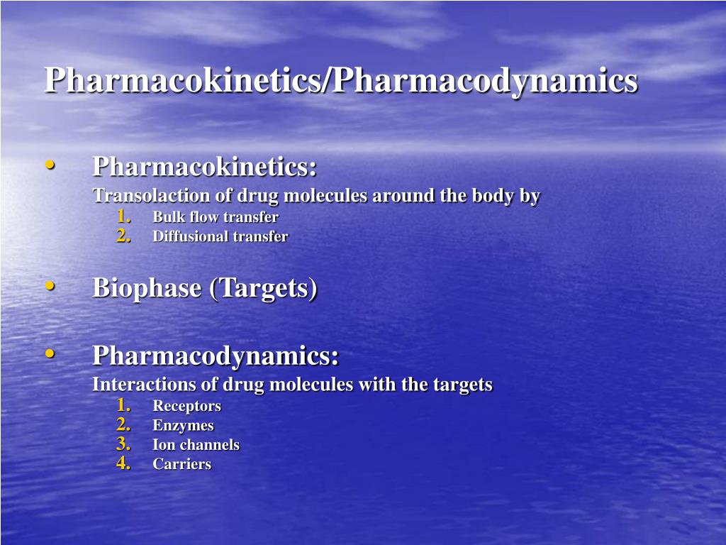 Pharmacokinetics/Pharmacodynamics