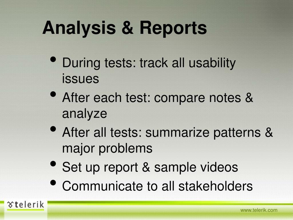 Analysis & Reports