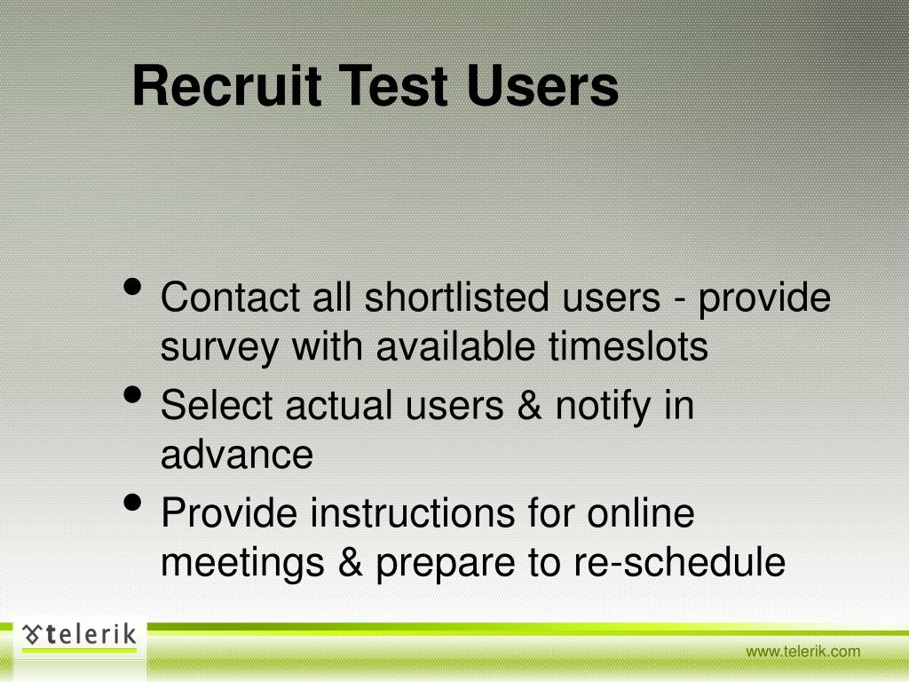 Recruit Test Users