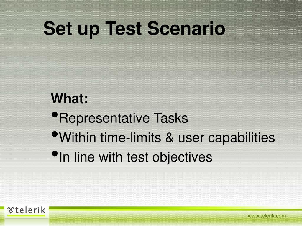 Set up Test Scenario