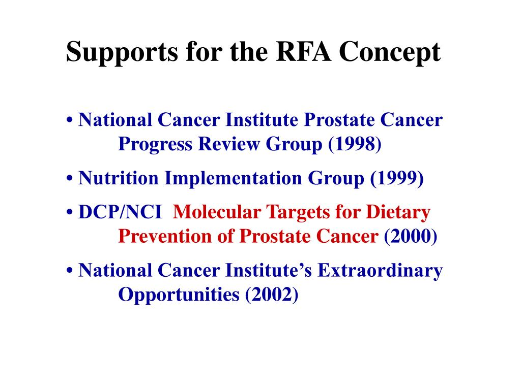 Supports for the RFA Concept