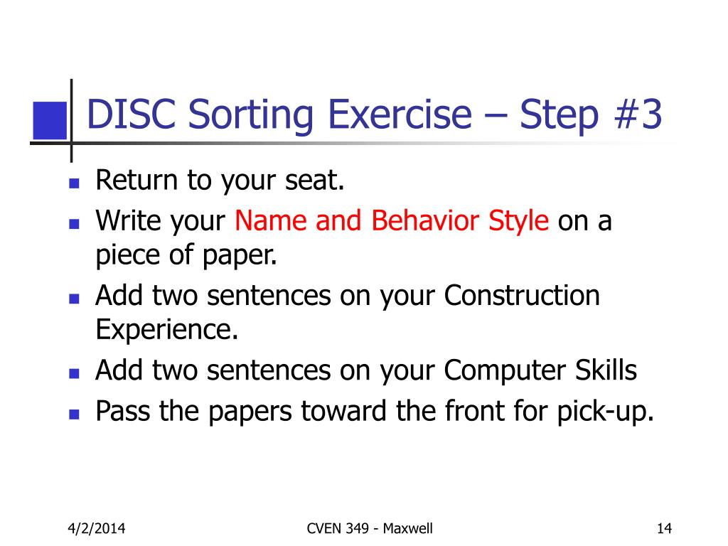 DISC Sorting Exercise – Step #3