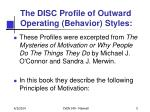 the disc profile of outward operating behavior styles