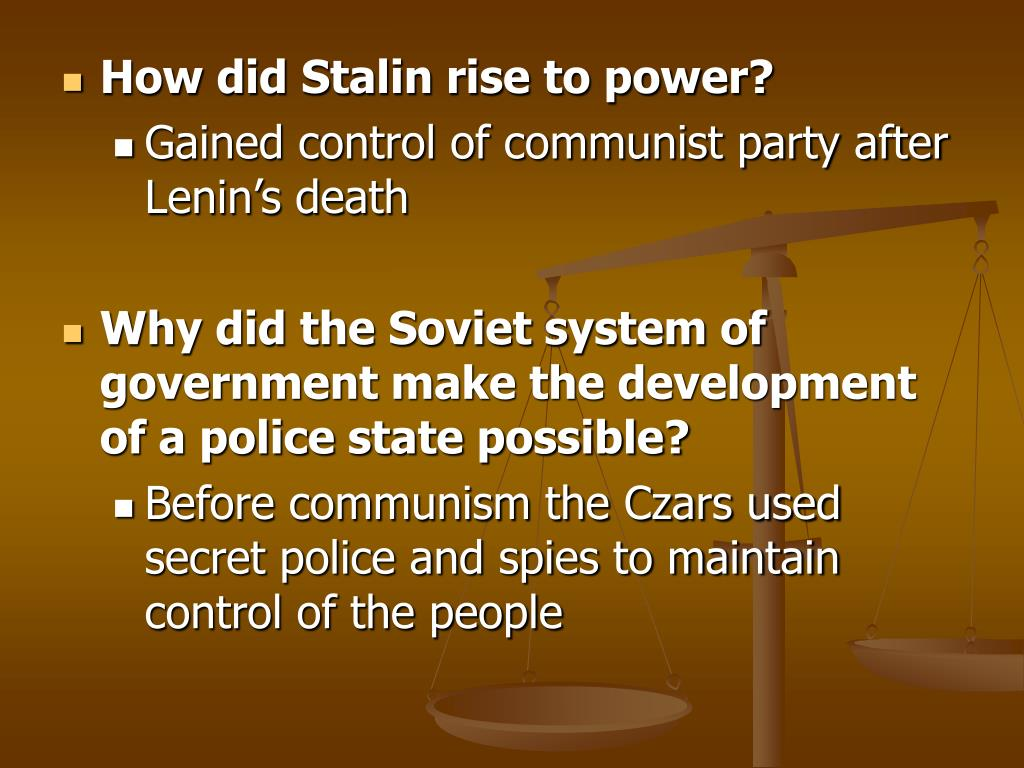 How did Stalin rise to power?