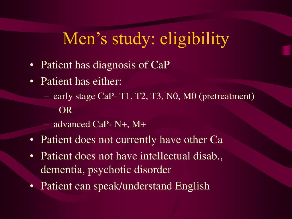 Men's study: eligibility