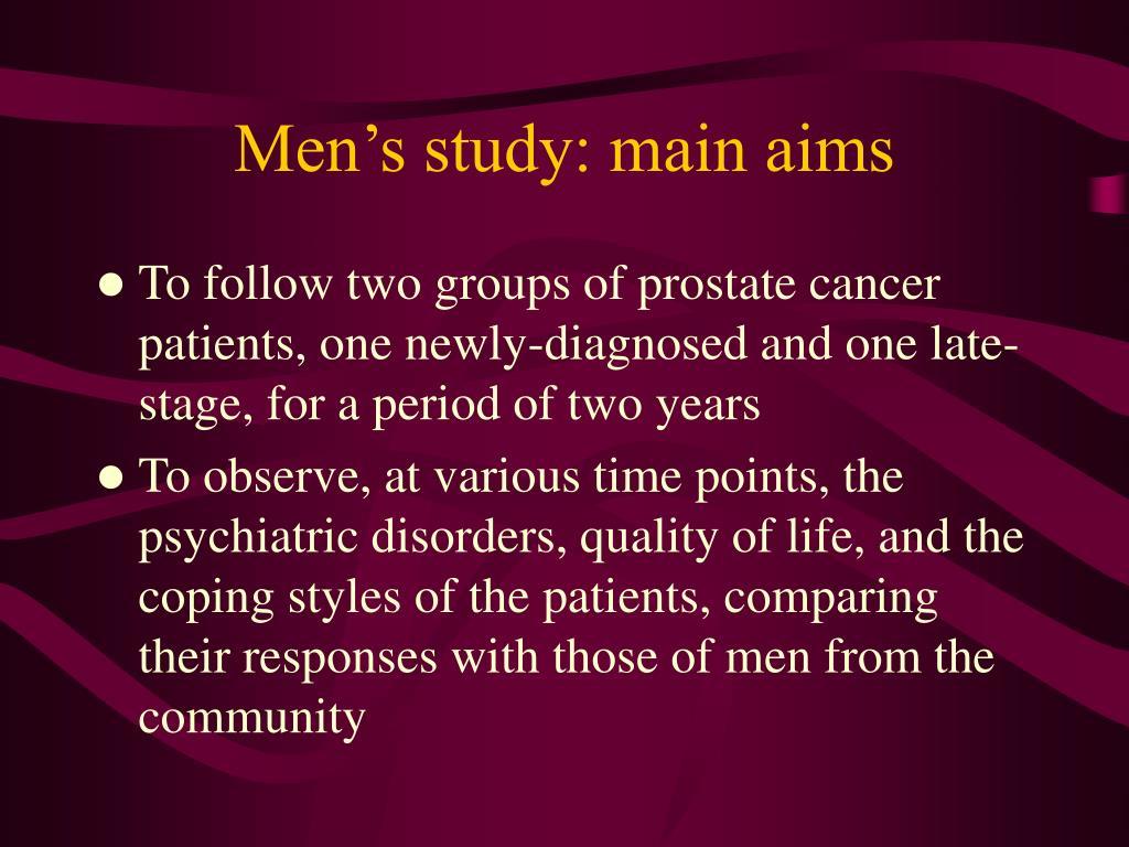 Men's study: main aims