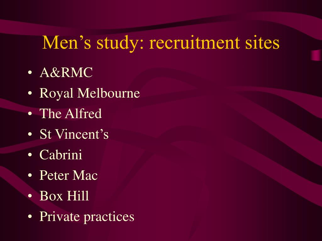 Men's study: recruitment sites