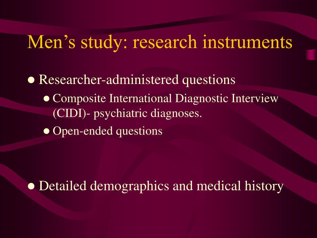 Men's study: research instruments