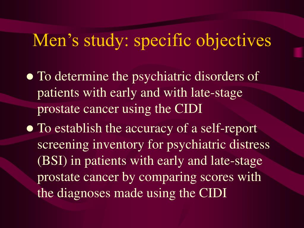 Men's study: specific objectives
