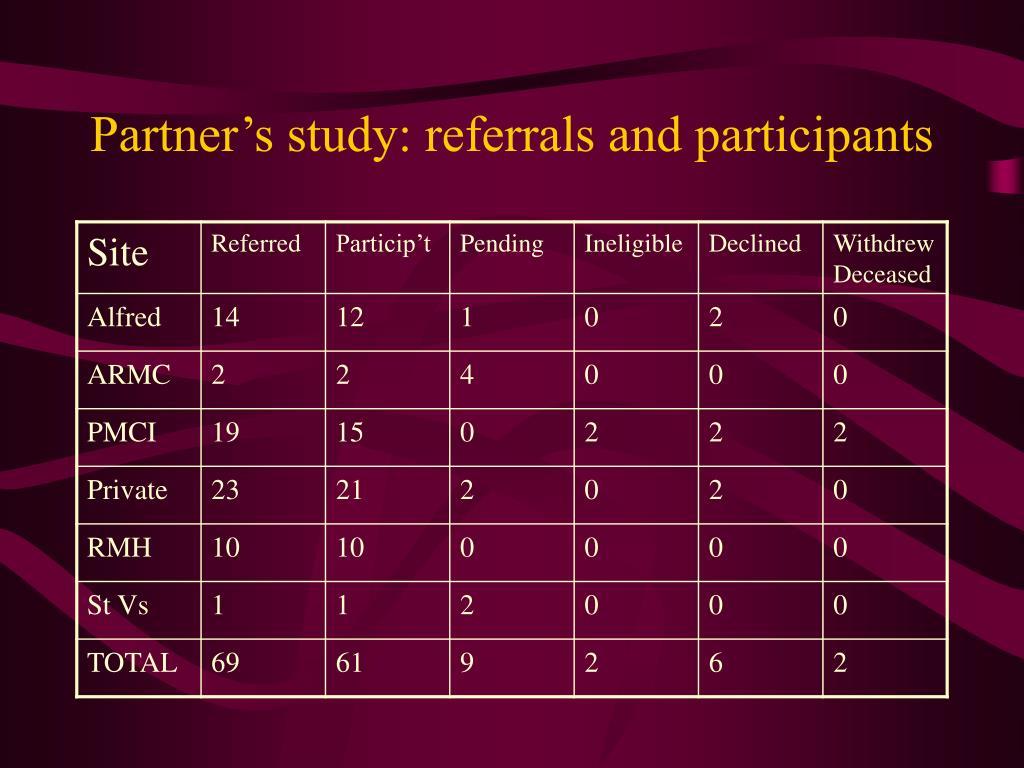 Partner's study: referrals and participants