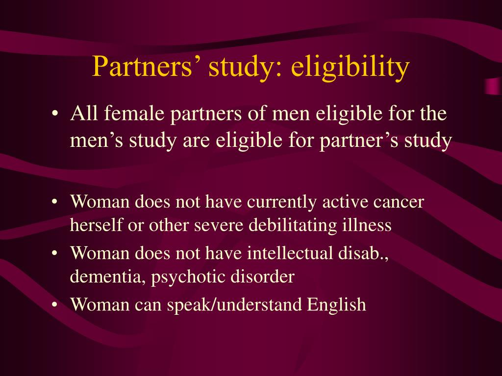 Partners' study: eligibility
